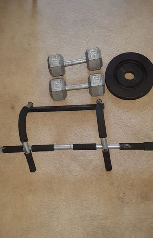30LBS BARBELL, 25LBS PLATE, PULL UP BAR for Sale in Chagrin Falls, OH