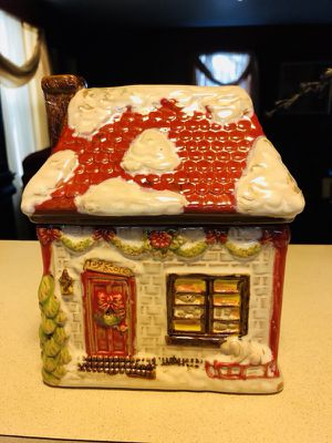 Christmas Cottage cookie jar for Sale in Germantown, MD