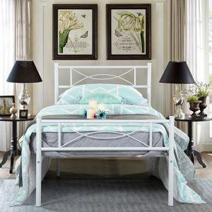 GIME Bed Frame Twin Size, Easy Set-up Premium Metal Platform Mattress - White for Sale in Monroe, WA