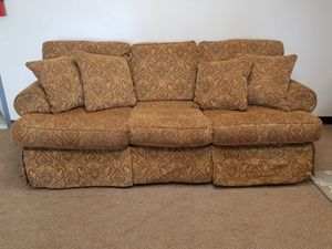 Light Brown Patterned Couch with Throw Pillows for Sale in Denver, CO