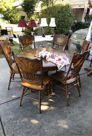 Beautiful solid wood table & 6 chairs for Sale in Stockton, CA