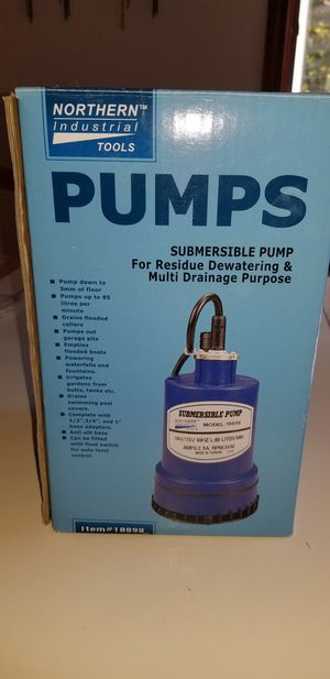 NEW IN BOX NORTHERN INDUSTRIAL TOOLS SUBMERSIBLE PUMP. PICK UP MIDDLEBORO ONLY for Sale in Middleborough, MA