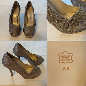 Caparros Heels (Size: 8, Color: Sparkly Gold, Style: Peep Toe Platform Heel) - $15 for Sale in Vandergrift, PA