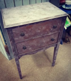 Antique soft lilac & dark wood upcycled sewing cabinet with secret drawer, original metal hardware! for Sale in Fairview Park, OH