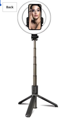 "Foldable portable Selfie Ring Light with Tripod Stand and Phone Holder, Rechargeable 6.3"" LED Dimmable Ring Light Selfie Stick Tripod with Bluetooth for Sale in Altadena, CA"