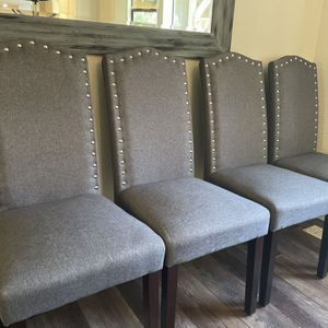 Gray Studded Dining room Chairs (set Of 4) for Sale in Maple Valley, WA