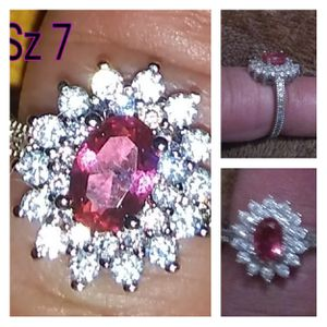 Beautiful Art Deco ring. Sz 7. Sterling silver. Large Ruby Center. Surrounded by white CZ diamonds for Sale in Glen Burnie, MD