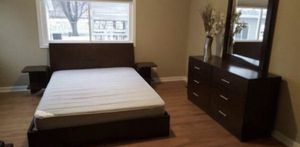Queen size bed frame/night stands/ dresser/mirror for Sale in Savage, MN