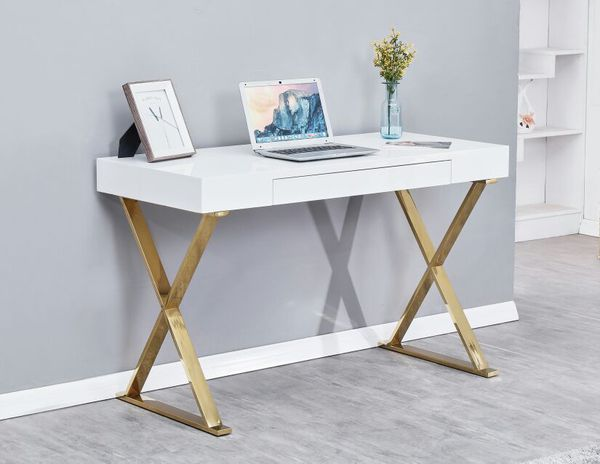 BA11 White with gold plating computer desk.