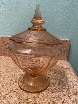 Pink vintage glass covered dish for Sale in Dallas, TX