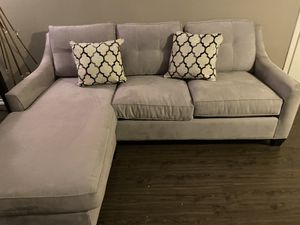 Comfortable pull out bed sofa & queen bed frame by Cindy Crawford for Sale in Dallas, TX
