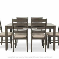 NEW, LIGHT BROWN 7 PC DININGR TABLE SET. for Sale in Santa Ana,  CA