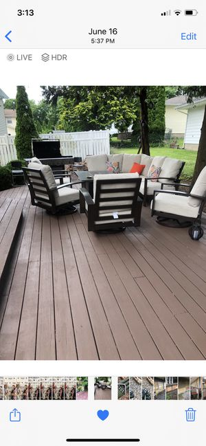 Ashley furniture outdoor sectional with fire pit! for Sale in Woodbridge Township, NJ