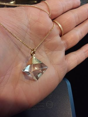 Clear quartz pyramid on 14k over sterling silver necklace for Sale in Modesto, CA