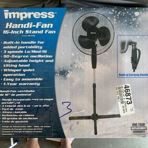 """Impress 16"""" Stand Fan BLACK // BRAND NEW for Sale in Downey, CA"""