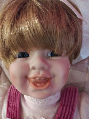 """PORCELAIN DOLL 14"""" H. NORMAL WEAR $20.00 FIRM ENGLISH-SPANISH for Sale in Mesa, AZ"""
