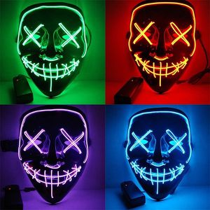 New halloween costume mask cosplay rave party LED glow scary mask costume party orange pink green or white purge movie dance club 2 AA Battery Requir for Sale in Covina, CA
