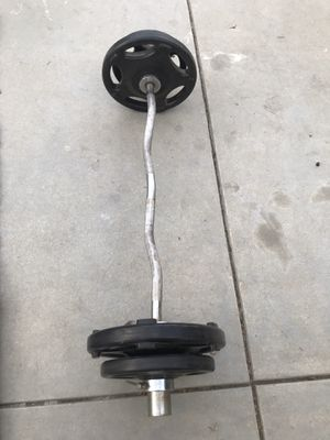 olympic curl bar with hampton weights for Sale in Los Angeles, CA