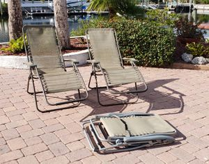30 each retail 65. 3 recliner patio folding foldup gravity chairs porch outdoor for Sale in NEW PRT RCHY, FL