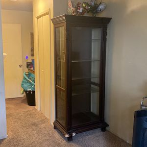 Burgundy Wood Display / China Cabinet / Glass Shelf for Sale in Vallejo, CA