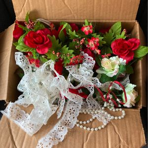 Box Assortment Of Lace , Ribbons Beads & Flowers - Great For Crafters for Sale in Glassboro, NJ