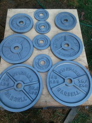230Lbs of Olympic size weight plates. $120 Firm for Sale in Downey, CA