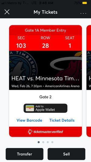 Miami heat tickets vs Cleveland low 100 sec for Sale in Hialeah, FL