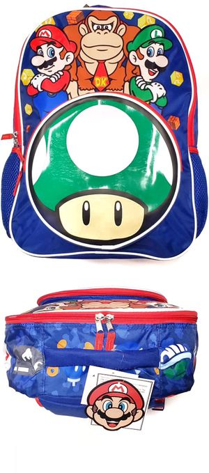 NEW! Super Mario Backpack, Mario party Mario Kart back to school donkey Kong bag book bag kids bag Nintendo wii switch travel bag for Sale in Carson, CA