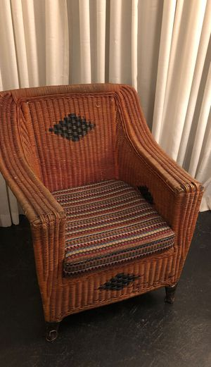Antique red & black painted wicker chair with cushion for Sale in San Diego, CA