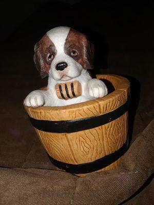 barrel of fun ... fine porcelain ..princeton gallery dog in barrel for Sale in Hesperia, CA