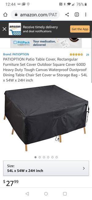 Patio Table Cover, Rectangular Furniture Set Cover Outdoor Square Cover 600D Heavy Duty Tough Canvas Waterproof Dustproof Dining Table Chair for Sale in Tampa, FL