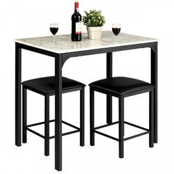 3 Pcs Counter Height Dining Set Faux Marble Table for Sale in Laguna Hills,  CA