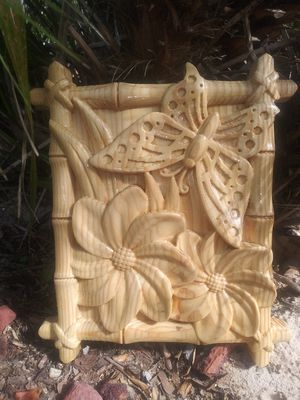 Carved wood butterfly and flowers tiki style wall decor for Sale in Spring Hill, FL