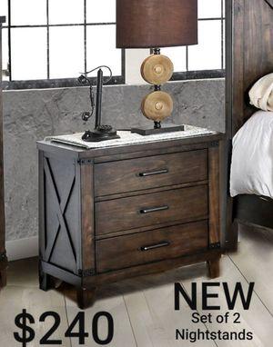 Set of 2 Nightstands in Dark Walnut for Sale in West Covina, CA