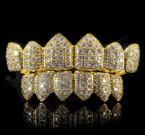 14k Gold Finish Grillz Set CZ Iced Cubic Bling High Quality Micro Pave Teeth for Sale in Los Angeles, CA