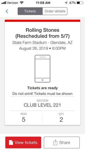 Rolling Stones 8/26 CLUB SEATS x 2 $400 for the pair for Sale in Chandler, AZ