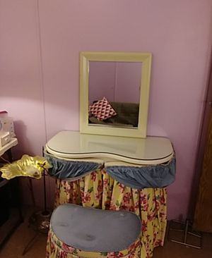 Vanity w/ seat and mirror antique for Sale in Clinton Township, MI