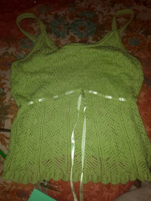 Lime green knit tank with silk tie for Sale in Houston, TX