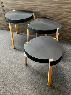New in box $35 set of 3 heavy duty indoor outdoor abs plastic top and solid wooden leg indoor outdoor side coffee table black or white color for Sale in Whittier, CA