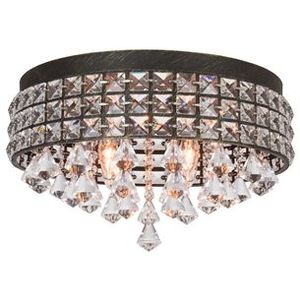 """Kira Home Gemma 15"""" Modern Chic 4-Light Flush Mount Crystal Chandelier + Round Metal Shade, Dimmable, Brushed Black Finish for Sale in Upland, CA"""