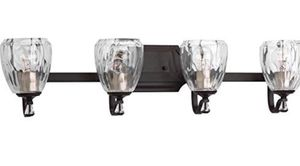 RESTORATION HARDWARE STYLE 4-LIGHT BATHROOM VANITY LIGHT FIXTURE WITH CLEAR SWIRL GLASS for Sale in Houston, TX