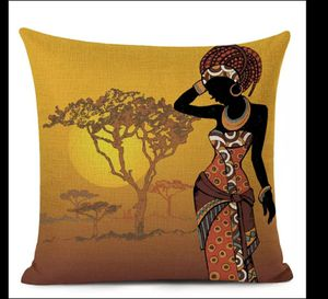 African Ethnic Woman Cushion Cover African Girl Decorative Pillow Case Linen Color Cloth Throw Pillow Cover for Sofa Home Decor for Sale in San Jose, CA