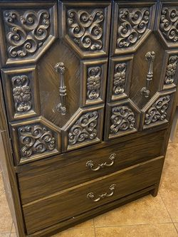 Vintage Long Dresser With Mirror And Armoire for Sale in Las Vegas,  NV