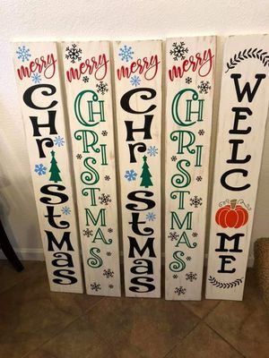 Handmade wood signs welcome, christmas, fall, halloween for Sale in Marion, IL