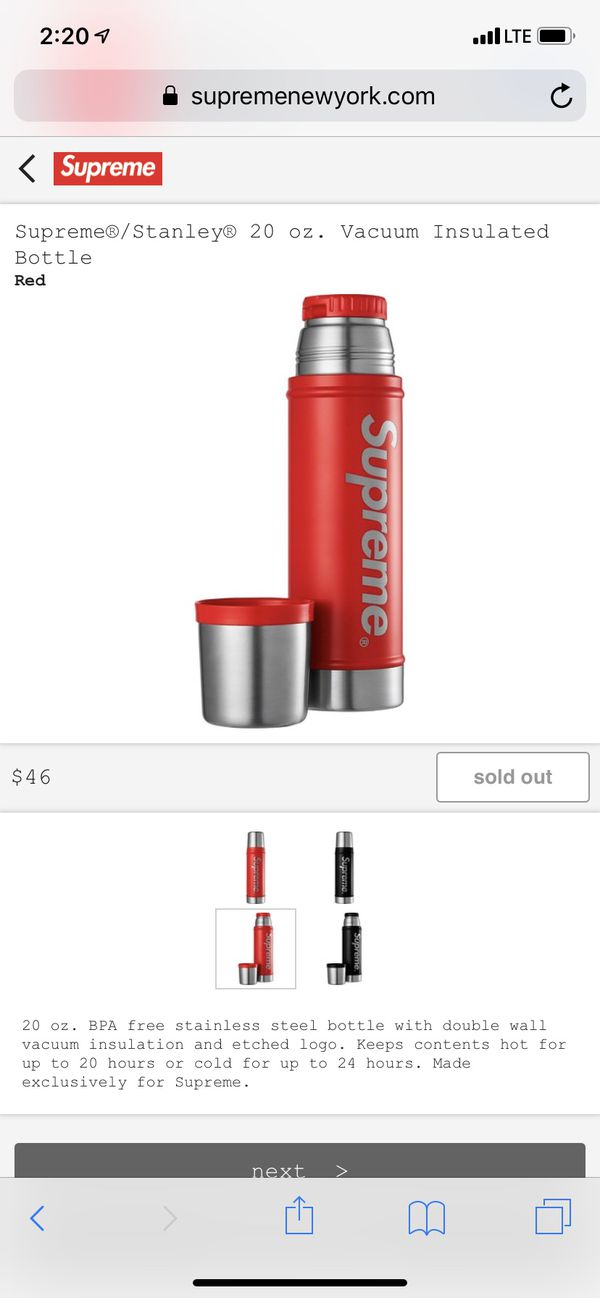 Supreme Stanley 20 oz. Vacuum Insulated Bottle