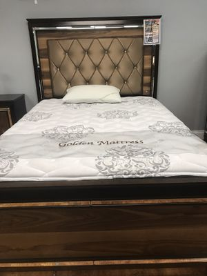 Chestnut Queen Sized Bed Frame & Matching Mirror Dresser *lights up* for Sale in Fayetteville, AR