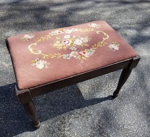 Lovely Antique Piano Bench with Neddlepoint Cushion with Roses for Sale in Concord, MA