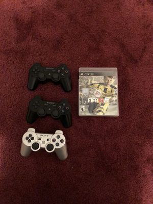 PS3 original controllers + fifia 17 for Sale in Providence, RI