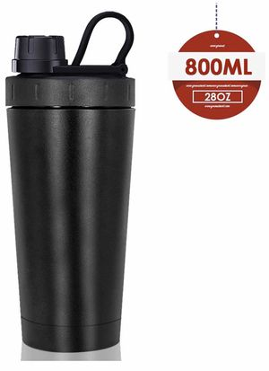 New Shaker Bottle, Stainless Steel, with Heat-Resistant Handle,Keeps Liquids Hot or Cold with Double Wall Vacuum Insulated Sweat Proof Shaking Water for Sale in Las Vegas, NV