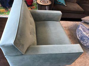 Blue velvet armchair for Sale in Seattle, WA